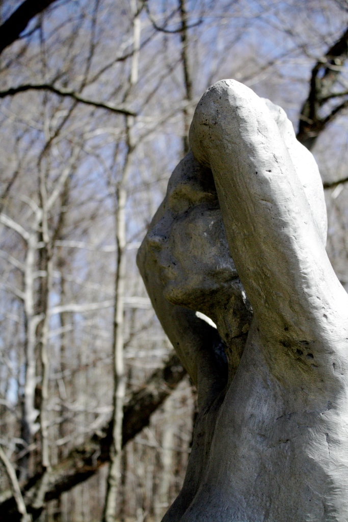 One of many sculptures you'll run across in the woods at Griffis