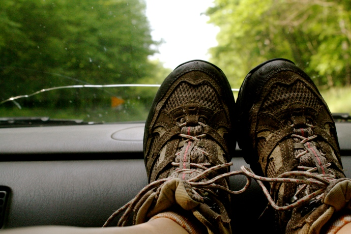 My hiking boots are laced and ready on one of my several trips to Allegheny National Forest.