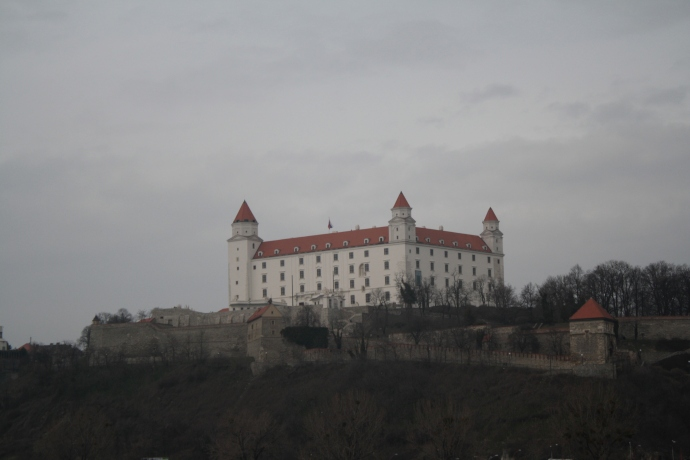 Bratislava Castle from under the UFO Bridge