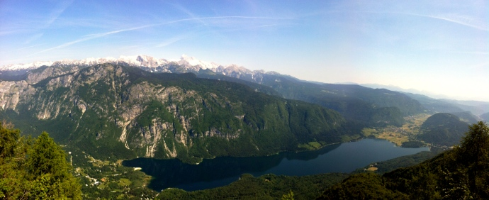 Panoramic view of Lake Bohinj from above.